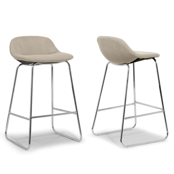 Set Of 2 Agalia Modern Fabric Chrome Frame Low Back Bar Stool