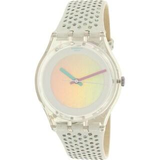 Swatch Girls' Gent GE246 Clear Suede Swiss Quartz Watch