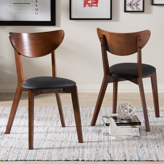 Baxton Studio Haides Mid-Century Walnut Brown and Black Faux Leather Dining Chair