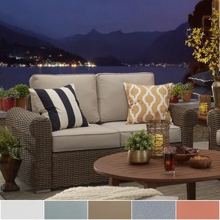 Barbados Wicker Outdoor Cushioned Brown Mocha Loveseat with Rolled Arm iNSPIRE Q Oasis