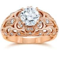 14k White Gold 3/4 Ct TDW Vintage Diamond Antique Engagement Ring