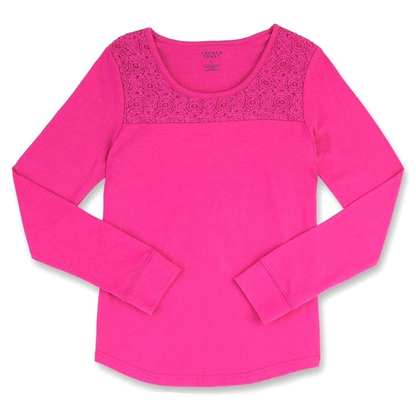 93750b2ab05 Shop French Toast Girls  Long-sleeved Crewneck With Lace - Free Shipping On  Orders Over  45 - Overstock - 12734071