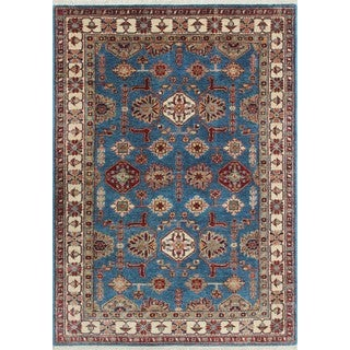 Super Kazak Amra Blue/Ivory Wool Hand-knotted Oriental Rug (3'10 x 5'7)