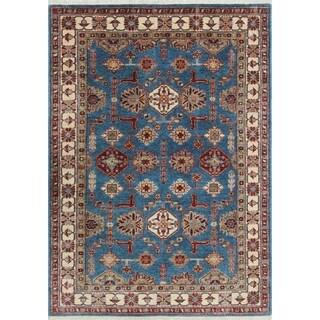 Super Kazak Amra Blue/Ivory Wool Hand-knotted Oriental Rug (3'10 x 5'7)