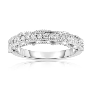 Noray Designs 14k White Gold 1/4ct TDW Diamond Milgrain Ring (G-H, SI1-SI2)