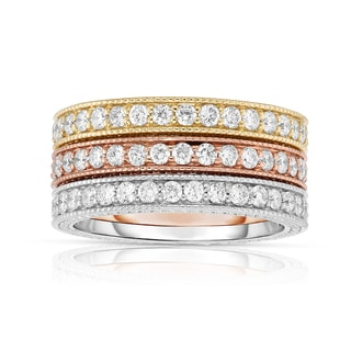 Noray Designs 14k Tri-color Gold 1 1/5ct TDW Diamond Milgrain Stackable Ring Set (G-H, SI1-SI2)