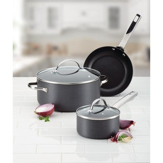 Farberware Hard-Anodized Nonstick Twin Skillet Set, 8-Inch and 10-Inch, Gray