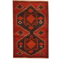 Herat Oriental Afghan Hand-knotted Tribal Balouchi Wool Rug - 2'10 x 4'5