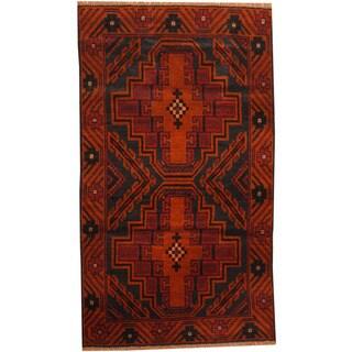 Herat Oriental Afghan Hand-knotted Tribal Balouchi Wool Rug (2'7 x 4'6)