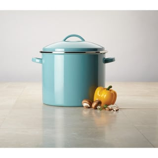 Farberware Enamel-on-Steel Large Covered Stockpot, 16-Quart, Aqua