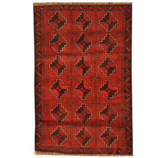 Herat Oriental Afghan Hand-knotted Tribal Balouchi Wool Rug (3' x 4'5)