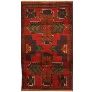 Herat Oriental Afghan Hand-knotted Tribal Balouchi Wool Rug (2'8 x 4'6)