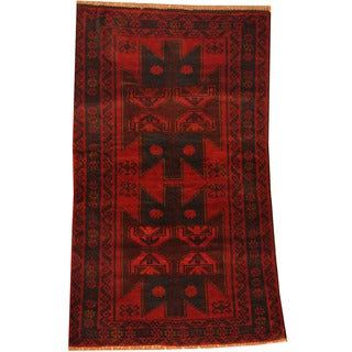 Herat Oriental Afghan Hand-knotted Tribal Balouchi Wool Rug (2'8 x 4'6)