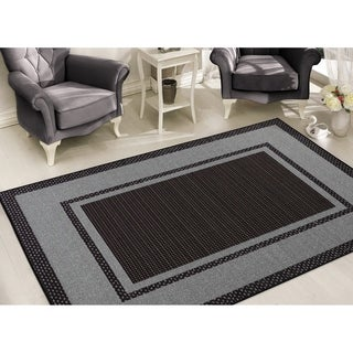Sweet Home Stores Clifton Collection Black/Grey Black-bordered Design Area Rug (7'10 x 9'10)