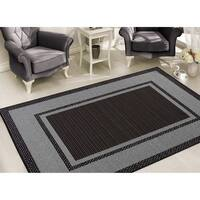 Sweet Home Stores Clifton Black/Grey Bordered Design Area Rug 8' x 10' - 7'10 x 9'10
