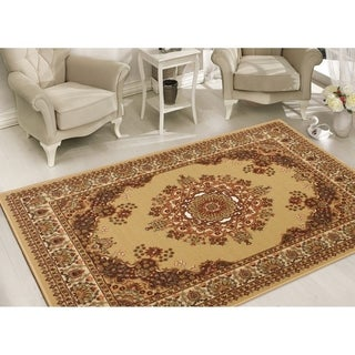 Sweet Home Stores Clifton Collection Red/Beige Polypropylene Medallion Area Rug (5'0 x 6'6)