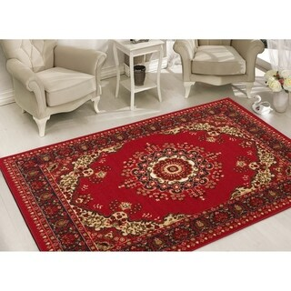 Sweet Home Stores Clifton Collection Medallion Red/Beige Polypropylene Area Rug (7'10 x 9'10)
