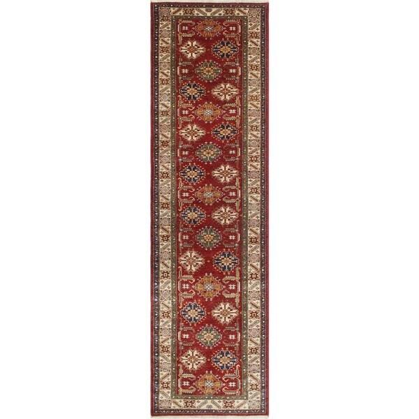 Super Kazak Fazal Red/Ivory Wool Hand-knotted Oriental Runner Rug (2'9 x 9'8)