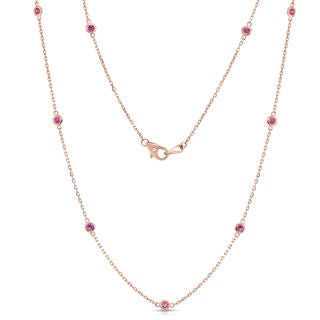Noray Designs 14k Rose Gold 1/2ct TGW Pink Sapphire by the Yard 10 Station 18-inch Necklace