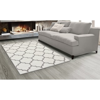 Sweet Home King Collection Grey Polypropylene Moroccan Trellis Design Area Rug (7'10 x 9'10)
