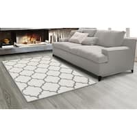 Sweet Home Stores King Cream/Grey Contemporary Moroccan Trellis Design Area Rug (7'10 x 9'10)