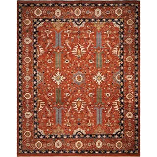 Fine Chobi Tahir Rust-colored Wool Rug (12'2 x 14'0)