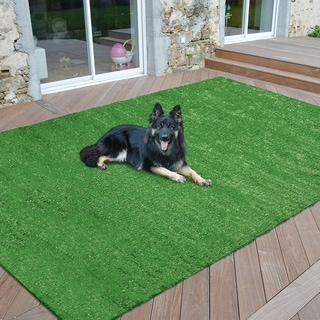 """Sweet Home Meadowland Collection Green Artificial Grass Indoor/Outdoor Turf Area Rug - 6'6"""" x 9'3"""""""