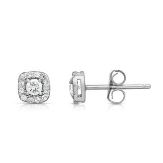 Noray Designs 14k White Gold 3/8ct TDW Diamond Cluster Square Stud Earrings (G-H, SI1-SI2)