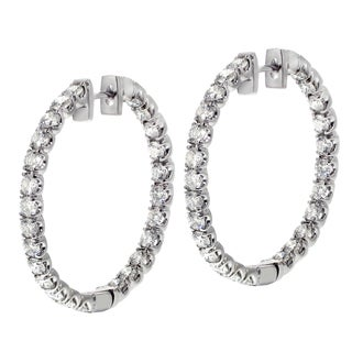 White Gold 4ct TDW Diamond U-prong Hoop Earrings (G-H, SI1-SI2)