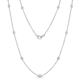 Noray Designs 14k White Gold 1/2ct TDW Diamond by the Yard 10 Station Necklace (G-H, SI1-SI2)