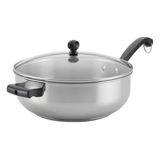 Farberware Classic Stainless Steel Cookware Covered Chef Pan, 6-Quart, with Helper Handle