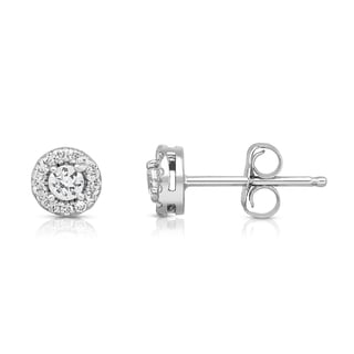 Noray Designs 14k White Gold 3/8ct TDW Diamond Cluster Round Stud Earrings (G-H, SI1-SI2)