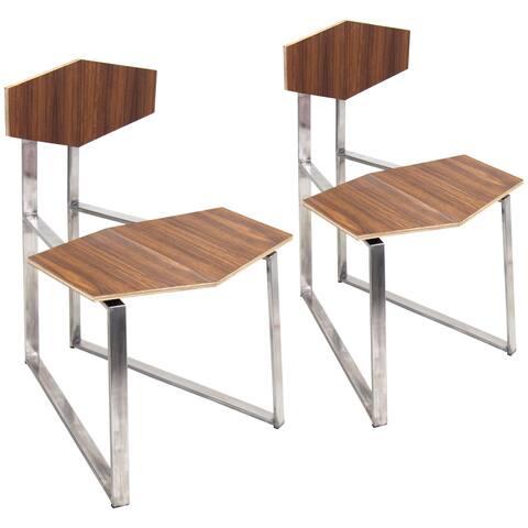 Set of 2 Modern Stainless Steel Walnut Flight Chairs