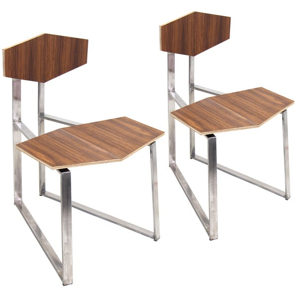 Set of 2 Modern Stainless Steel Walnut Flight Chairs. Opens flyout.