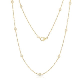 Noray Designs 14k Yellow Gold 1/2ct TDW Diamond by the Yard 10 Station Necklace (G-H, SI1-SI2)