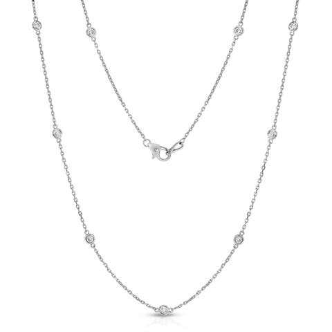 Noray Designs 14k White Gold 1/2ct TDW 10 Station Necklace