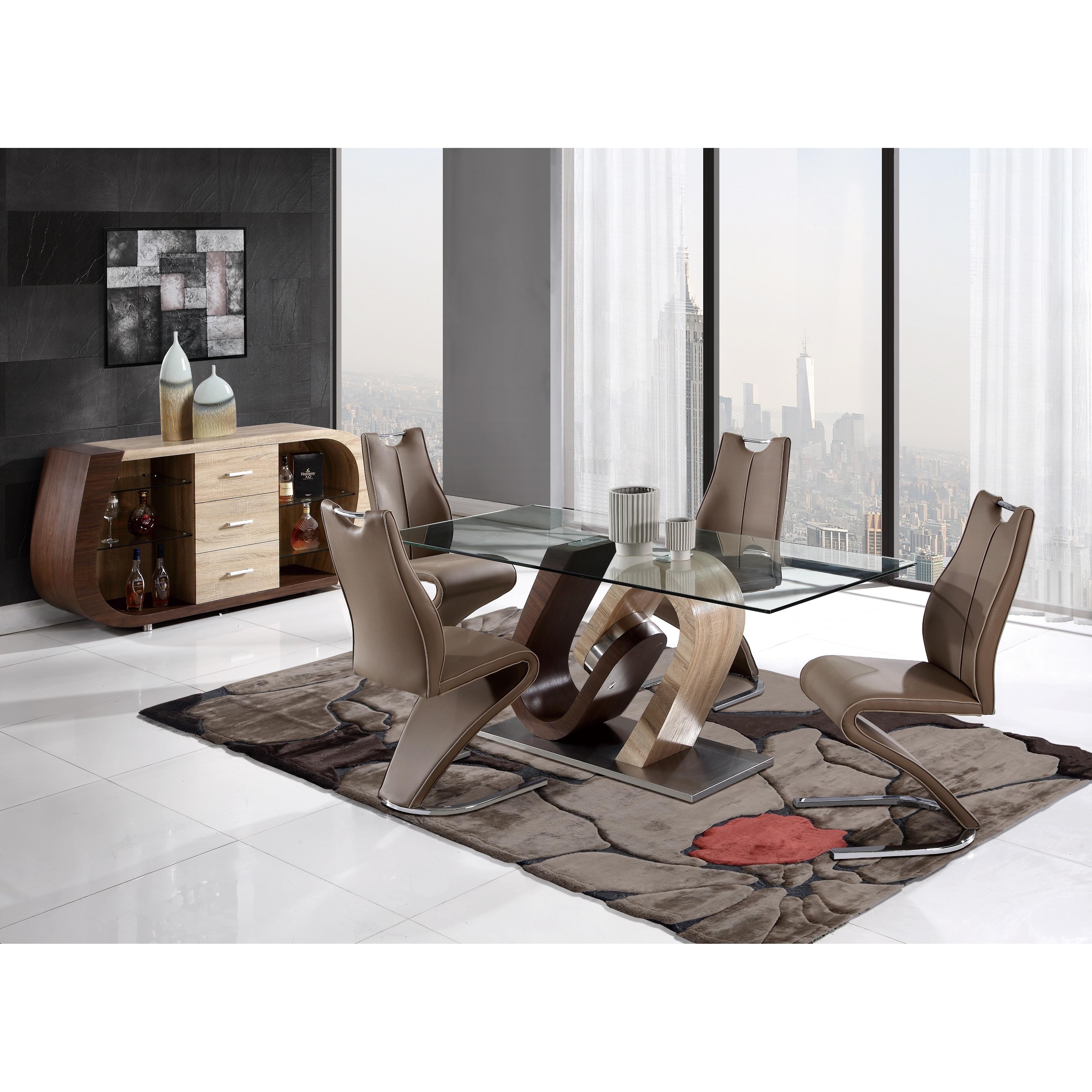 Oak And Walnut Modern Dining Table