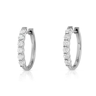 Noray Designs 14k White Gold 7/8ct TDW Diamond Hoop Earrings