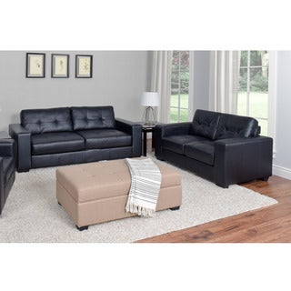CorLiving Club 2-piece Tufted Bonded Leather Sofa Set