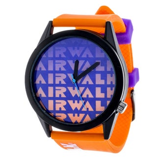 Airwalk Metal Alloy Case w/ Orange Silicon Strap Analog Watch