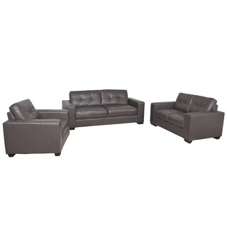 CorLiving Club 3pc Tufted Bonded Leather Sofa Set