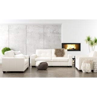 CorLiving Club 3-piece Tufted Bonded Leather Sofa Set