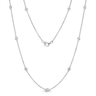 Noray Designs 14k White Gold 1ct TDW Diamond by the Yard 10 Station Necklace (G-H, I1-I2)