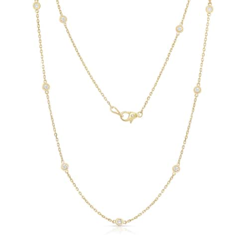 Noray Designs 14k Yellow Gold 1ct TDW Diamond 10 Station Necklace