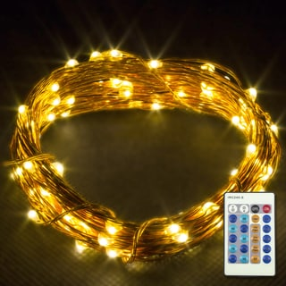 LED Concepts Warm White Copper Wire Dimmable LED String Lights With Remote