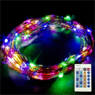 LED Concepts Multi-color Copper Wire Dimmable String Lights with Remote
