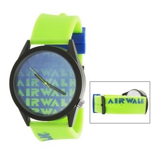 Airwalk Metal Alloy Case w/ Green Silicon Strap Analog Watch