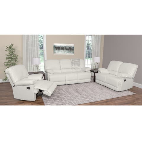CorLiving Lea 3-piece Bonded Leather Reclining Sofa Set