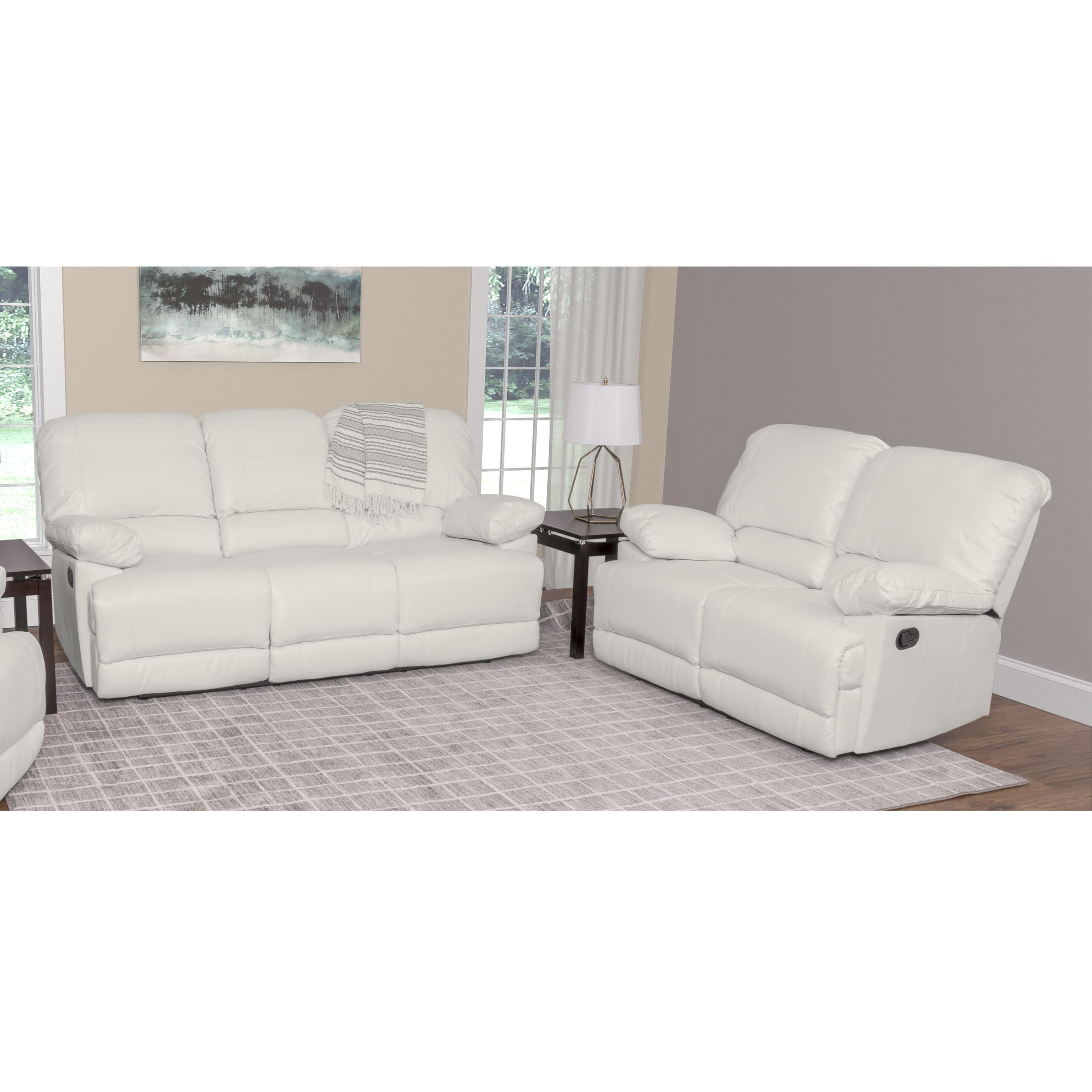 CorLiving Lea 2-piece Bonded Leather Reclining Living Room Set | eBay