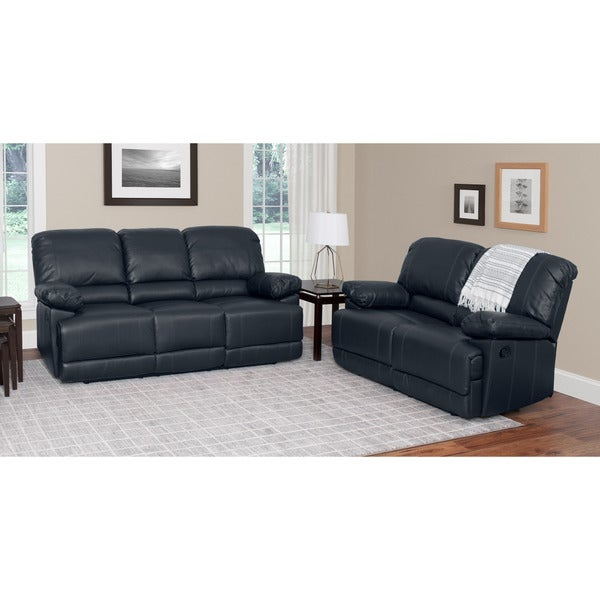 Shop corliving lea 2 piece bonded leather reclining living room set free shipping today 2 piece leather living room set